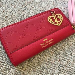 Juicy Couture Red Heart Soul Zip Around Wallet